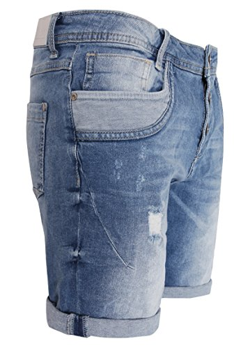 Sublevel Damen Shorts | Blaue Jeans Bermuda mit Destroyed Parts im Boyfriend-Style Blue M - 5
