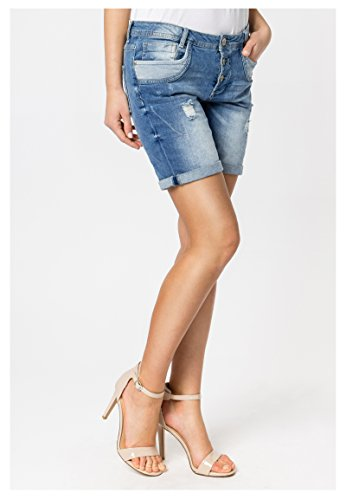 Sublevel Damen Shorts | Blaue Jeans Bermuda mit Destroyed Parts im Boyfriend-Style Blue M - 7