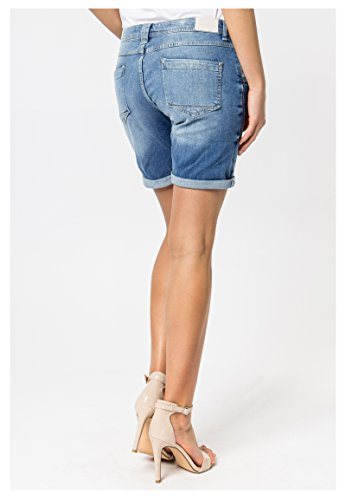 Sublevel Damen Shorts | Blaue Jeans Bermuda mit Destroyed Parts im Boyfriend-Style Blue M - 8