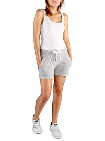WOLDO Athletic Damen Sweatshorts Trainingshose Shorts Kurze Hose Sport Fitness Gym Freizeit (M, Hellgrau) - 3