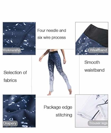 Yoga Hosen Frauen Sport Kleidung Chinesischen Stil Classic Gedruckt Yoga Leggings Fitness Yoga Laufhose Sport Hosen Kompression Strumpfhosen Kleidung (Color : Blau, Size : XL) - 4