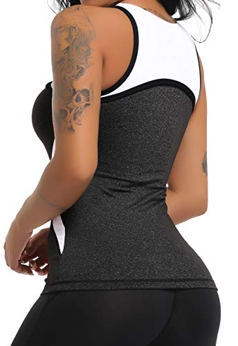 CROSS1946 Damen Sporttop Yoga Colorblock Oberteil Laufen Fitness Funktions Shirt Tank Tops Schwarz X-Large - 2