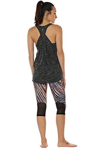 icyzone Damen Yoga Fitness Tank Top Lang - Training Jogging Ärmelloses Shirt Sport Oberteil Tops (L, Black) - 4