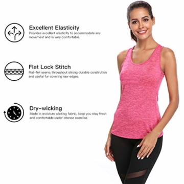 Joyshaper Training Top Damen Quick Dry Kompression Sport Tanktop Sportshirt Trainingsshirt Shirt T Shirt für Yoga und Fitness Running Top Weste Vest (Pink, Medium) - 3