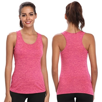 Joyshaper Training Top Damen Quick Dry Kompression Sport Tanktop Sportshirt Trainingsshirt Shirt T Shirt für Yoga und Fitness Running Top Weste Vest (Pink, Medium) - 4