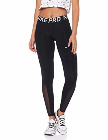 Nike Damen Pro Leggings, Black/White, M - 1