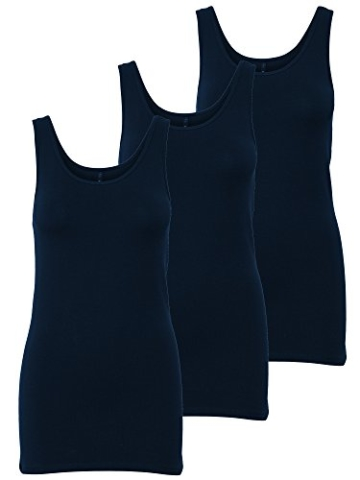 ONLY 3er Pack Damen Basic Tops Tank Top dunkel blau lang 15201465 (M, Blau (Night Sky)) - 1