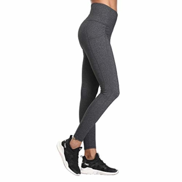 SIMIYA Damen Leggings, Lang Frauen Sporthose, Stretch und Hohe Taille 3/4 Hose, 1 Pack(Grau, M) - 2