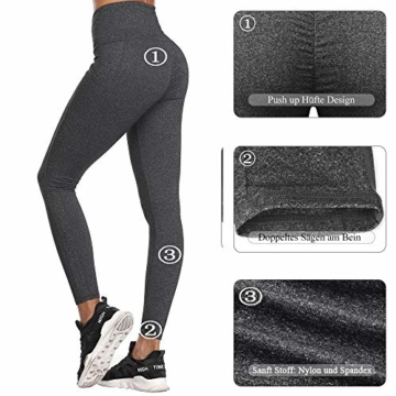 SIMIYA Damen Leggings, Lang Frauen Sporthose, Stretch und Hohe Taille 3/4 Hose, 1 Pack(Grau, M) - 4