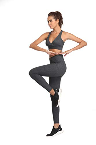 SIMIYA Damen Leggings, Lang Frauen Sporthose, Stretch und Hohe Taille 3/4 Hose, 1 Pack(Grau, M) - 5