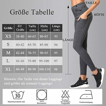 SIMIYA Damen Leggings, Lang Frauen Sporthose, Stretch und Hohe Taille 3/4 Hose, 1 Pack(Grau, M) - 7