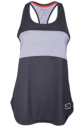 Sundried Womens Sports Vest Yoga Wear ärmelschulterfrei Training and Gym Tank Top (Medium, Grey) - 1
