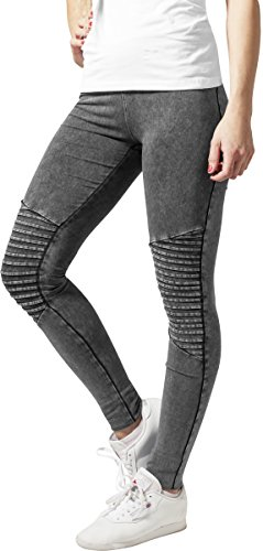 Urban Classics Damen Sport Legging Leggings Denim Jersey grau (Darkgrey) Small - 1