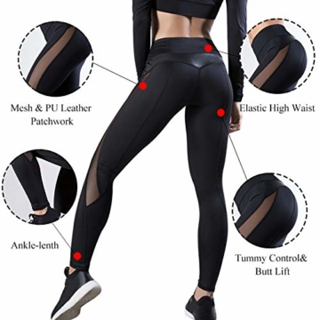 WHFDDDK Frauen Yoga Hosen Push Up Fitness Gym Sport Leggings Laufen Mesh Yoga Legging Nahtlose Trainingshose Femme Hohe Taille - 2