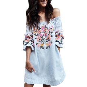 AMUSTER.DAN Mode Off Shoulder Mini Kleid Sommer Strand Blumen Party Kleid