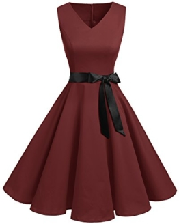 Bridesmay Damen Vintage 1950er Rockabilly Ärmellos Retro Cocktailkleid