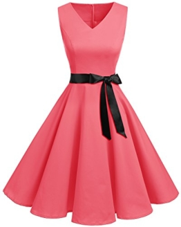 Bridesmay Damen Vintage 1950er Rockabilly Ärmellos Retro Cocktailkleid Partykleid Blush 4XL