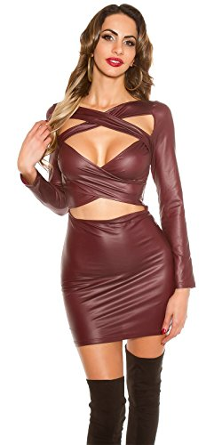 Koucla Kleid Wetlook Lederlook Minikleid mit Cut Outs