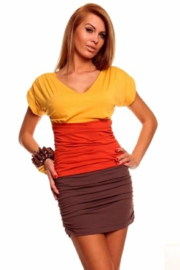 Minikleid Longtop Shirt Strandkleid Freizeitkleid Gelb-Orange-Braun