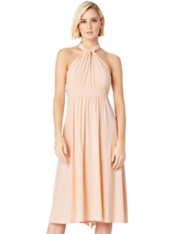 TRUTH & FABLE Damen Midi Kleid, Elfenbein (Scallop Shell (Off White)), 38 (Herstellergröße: Medium)