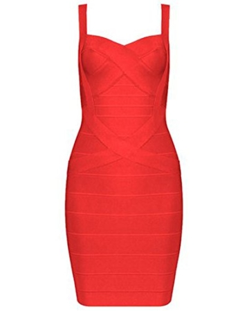 Whoinshop Frauen Rayon Nettes Sleeveless Bodycon Verband-B¨¹gel-Kleid rot XS