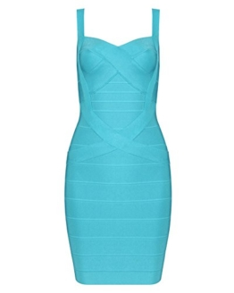 Whoinshop Frauen Rayon Nettes Sleeveless Bodycon Verband-Bügel-Kleid hellblau XS