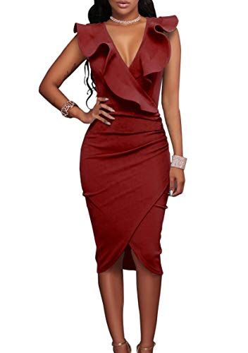 YMING Rüschen Partykleid Bodycon Stretch