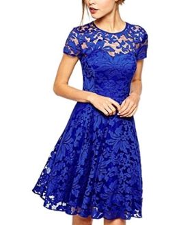 ZANZEA Damen Spitze Lace Party Cocktail Minikleid Blau