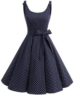 bbonlinedress 1950er Vintage Polka Dots Pinup Retro Rockabilly Kleid Cocktailkleider Navy White Dot S