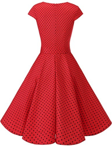 Dresstells Vintage 50er Swing Party kleider Cap Sleeves Rockabilly Retro Hepburn Cocktailkleider Red Small Black Dot 2XL - 3
