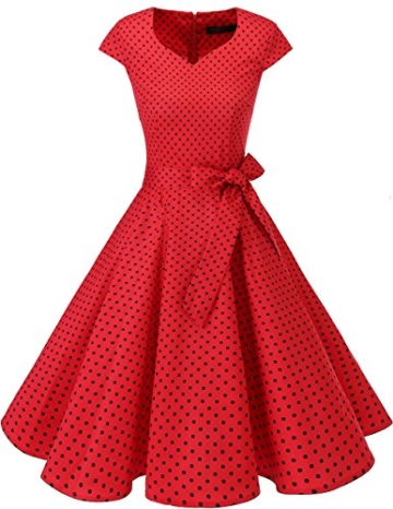 Dresstells Vintage 50er Swing Party kleider Cap Sleeves Rockabilly Retro Hepburn Cocktailkleider Red Small Black Dot 2XL - 1