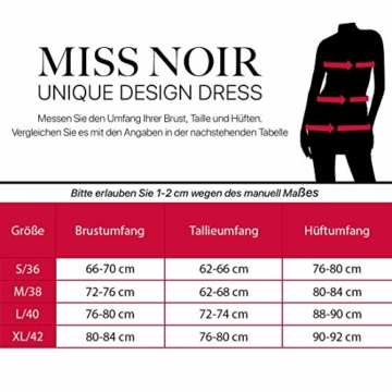 Miss Noir Damen Kleid im Wetlook Tiefer Ausschnitt Stretch Exklusives Clubwear Partykleid (S, Rot) - 4