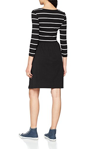 ONLY NOS Damen onlAMBER 3/4 FIT and Flair Dress NOOS Kleid, Mehrfarbig (Black Stripes:Cloud Dancer), 38 (Herstellergröße: M) - 2