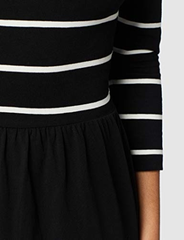 ONLY NOS Damen onlAMBER 3/4 FIT and Flair Dress NOOS Kleid, Mehrfarbig (Black Stripes:Cloud Dancer), 38 (Herstellergröße: M) - 4