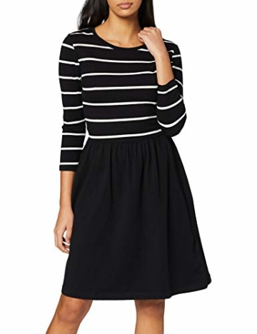 ONLY NOS Damen onlAMBER 3/4 FIT and Flair Dress NOOS Kleid, Mehrfarbig (Black Stripes:Cloud Dancer), 38 (Herstellergröße: M) - 1
