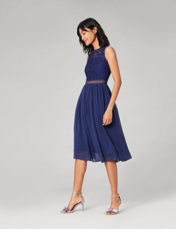 TRUTH & Fable Lace Trim Bridesmaid Midi Hochzeitskleid, Blau (Blue), 38 (Herstellergröße: Medium) - 2