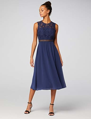 TRUTH & Fable Lace Trim Bridesmaid Midi Hochzeitskleid, Blau (Blue), 38 (Herstellergröße: Medium) - 3