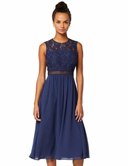 TRUTH & Fable Lace Trim Bridesmaid Midi Hochzeitskleid, Blau (Blue), 38 (Herstellergröße: Medium) - 1