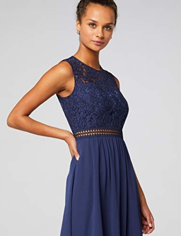 TRUTH & Fable Lace Trim Bridesmaid Midi Hochzeitskleid, Blau (Blue), 38 (Herstellergröße: Medium) - 5
