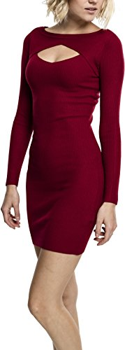 Urban Classics Damen Ladies Cut Out Dress Kleid, Rot (Burgundy 606), Small - 1