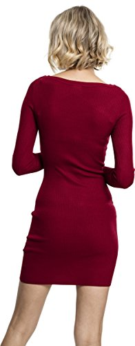 Urban Classics Damen Ladies Cut Out Dress Kleid, Rot (Burgundy 606), Small - 4
