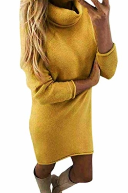 Yidarton Winter Damen Pullover Sweater Strickkleid Warm Elegant Langarm Strickpullover Lang (Medium, Z-Gelb) - 1
