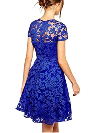 ZANZEA Damen Spitze Lace Party Cocktail Minikleid Blau -