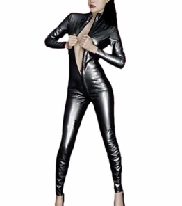 Hibasing Sexy Overall Frau Zweite Haut Diffsuit Catsuit Wetlook Zipper Up Crotch Clubwear Abendparty Schwarz 4XL - 1