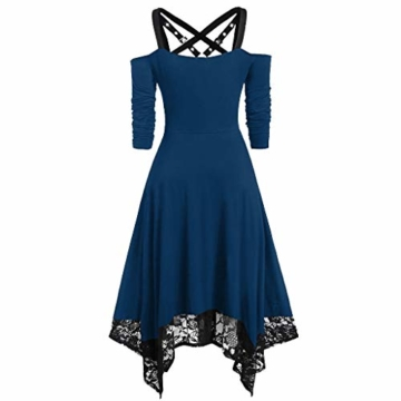 WWricotta Women Punk Plus Size Open Shoulder Lace Spaghetti Strap Long Sleeve Gothic Dress(Blau,L) - 2