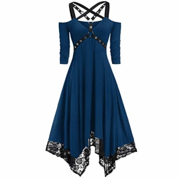 WWricotta Women Punk Plus Size Open Shoulder Lace Spaghetti Strap Long Sleeve Gothic Dress(Blau,L) - 1